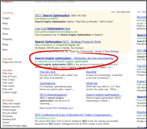seo chart showing google page 1 results