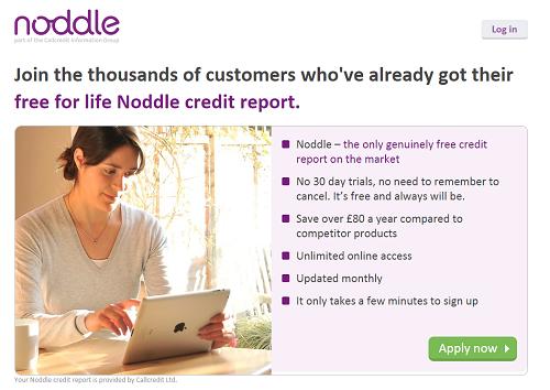 Noddle UK personal credit check enrol form