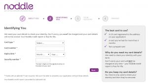 noddle credit card identification form