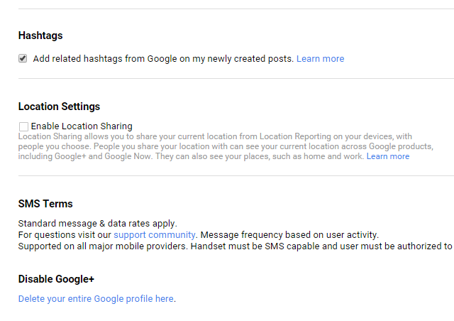 Google+ hashtag settings option screenshot